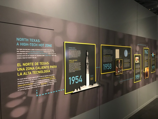 picture of a board with facts on it about the technology industry of North Texas