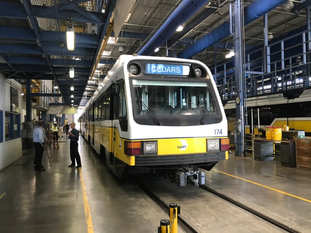 light rail cars under repair