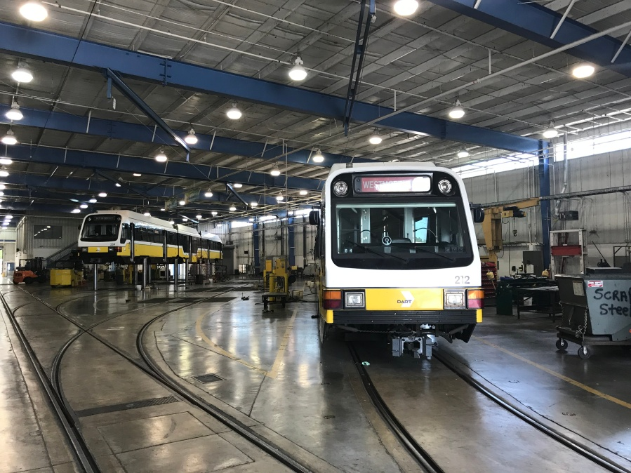 light rail trains in a maintenance facility