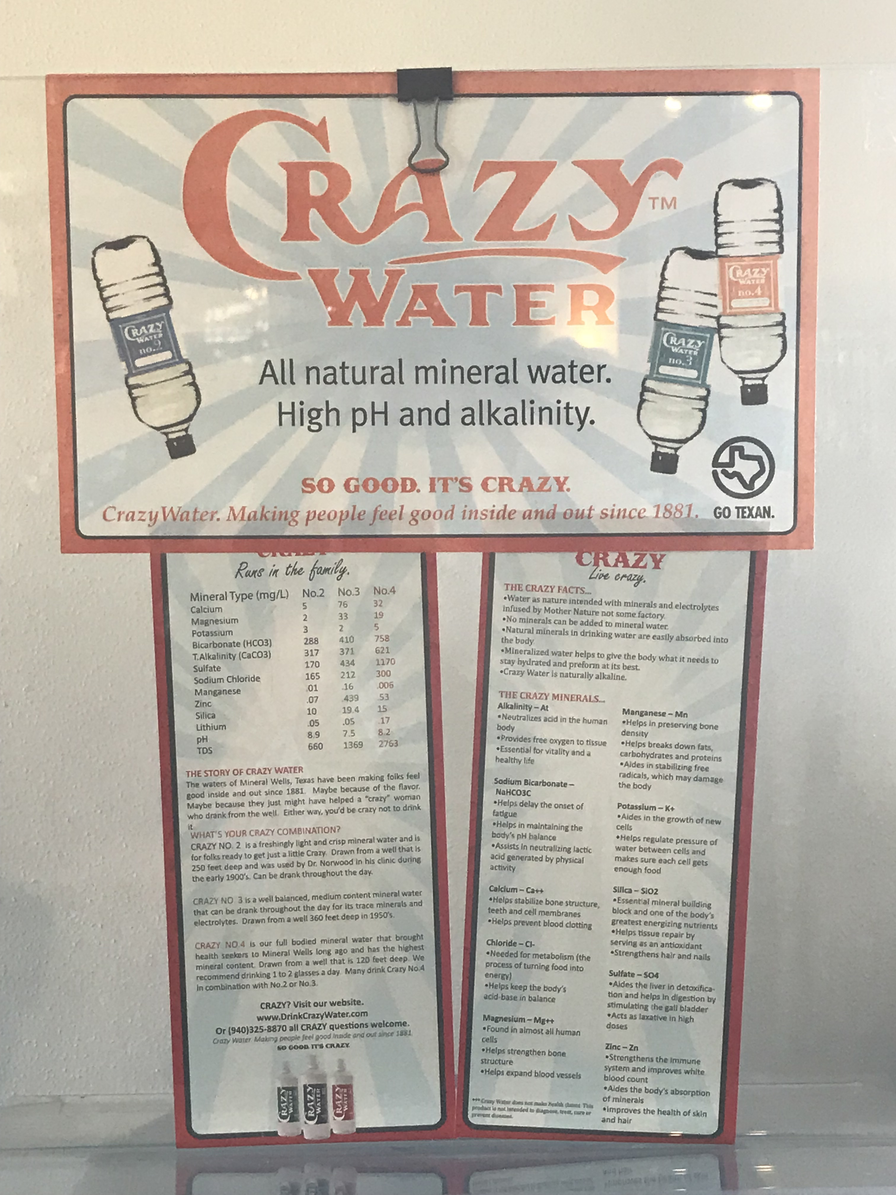 small sign talking about chemical makeup of the mineral water for sale