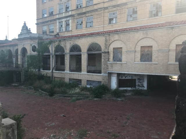 side shot of the baker hotel.
