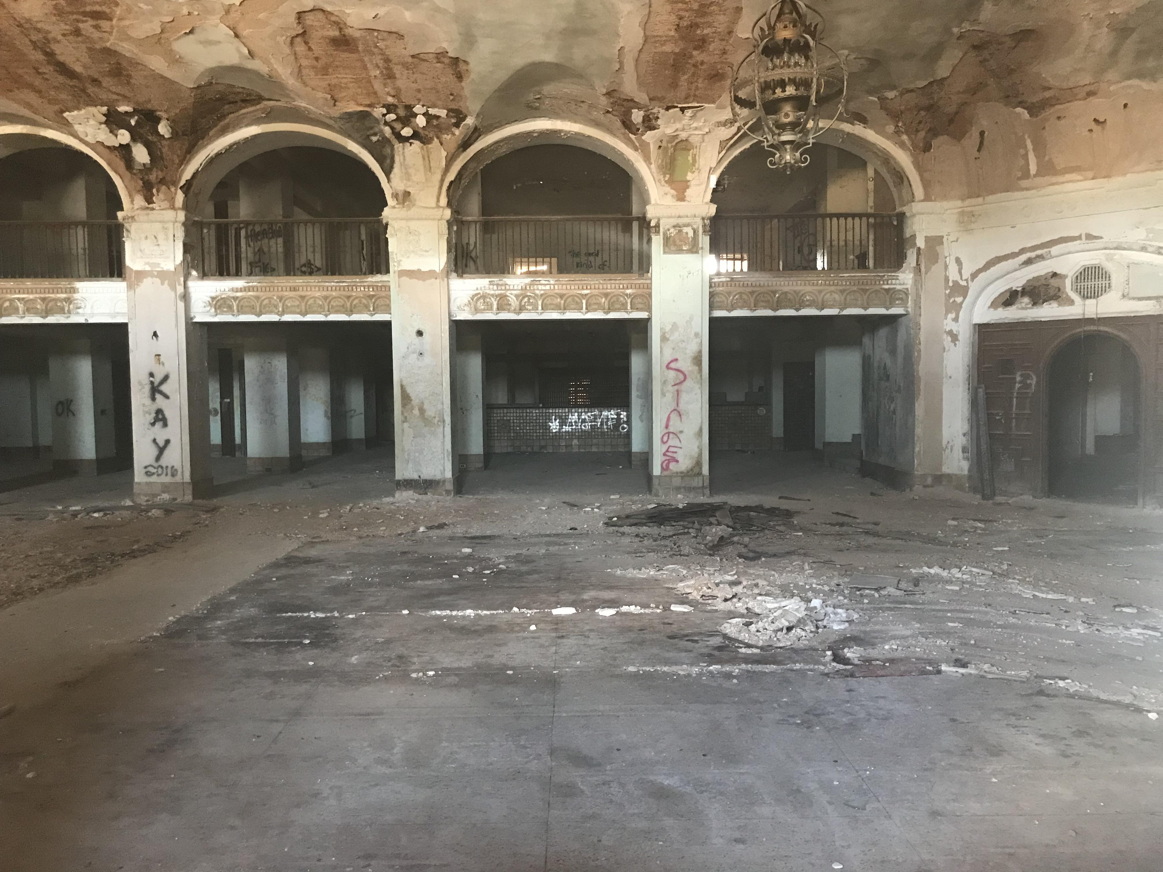 lobby of abandoned Baker Hotel