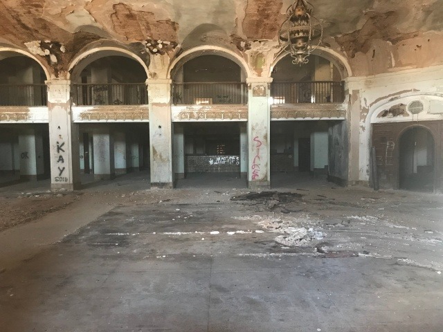 lobby of abandoned Baker Hotel
