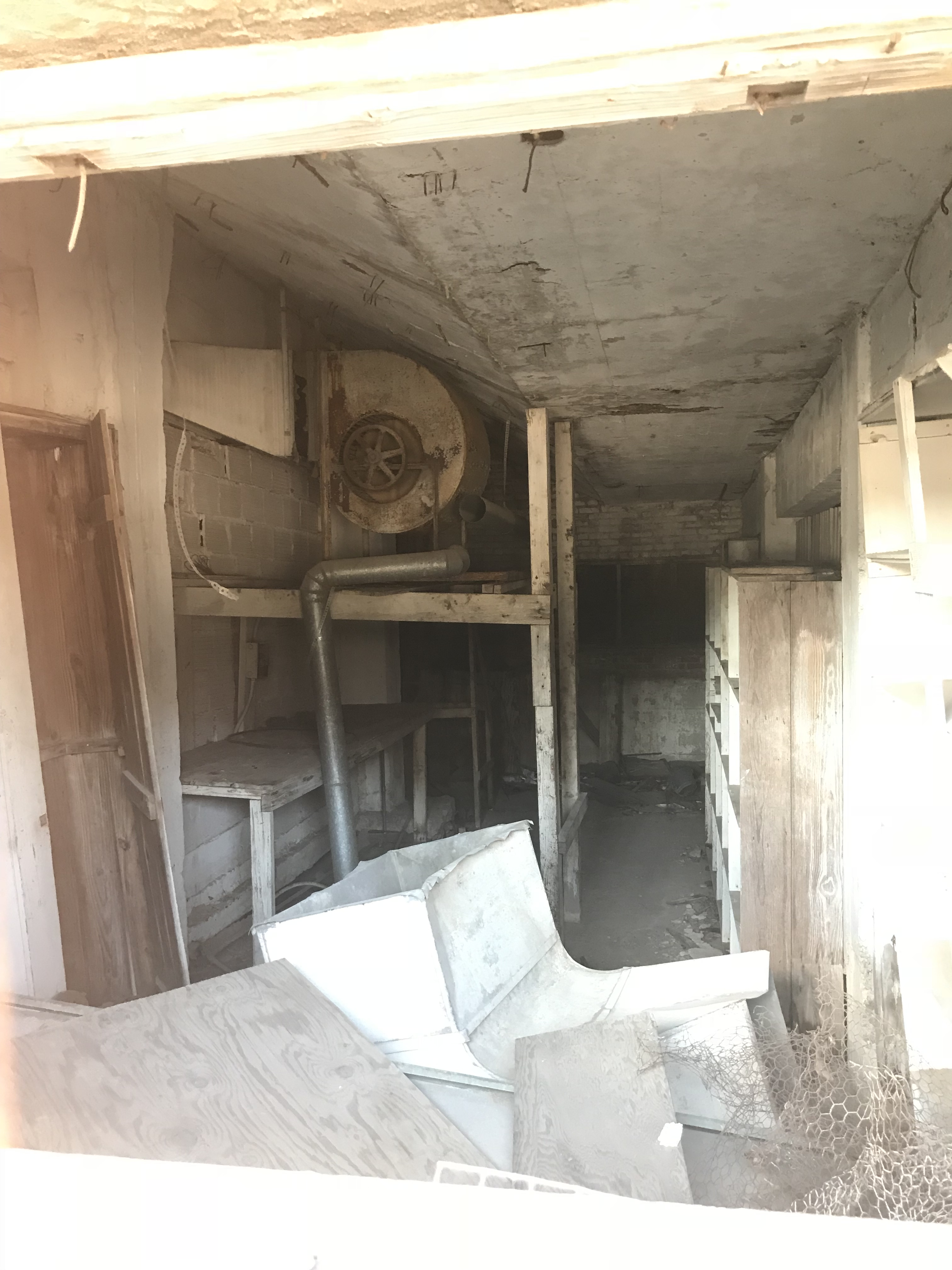 picture of a storage room at an abandoned hotel.