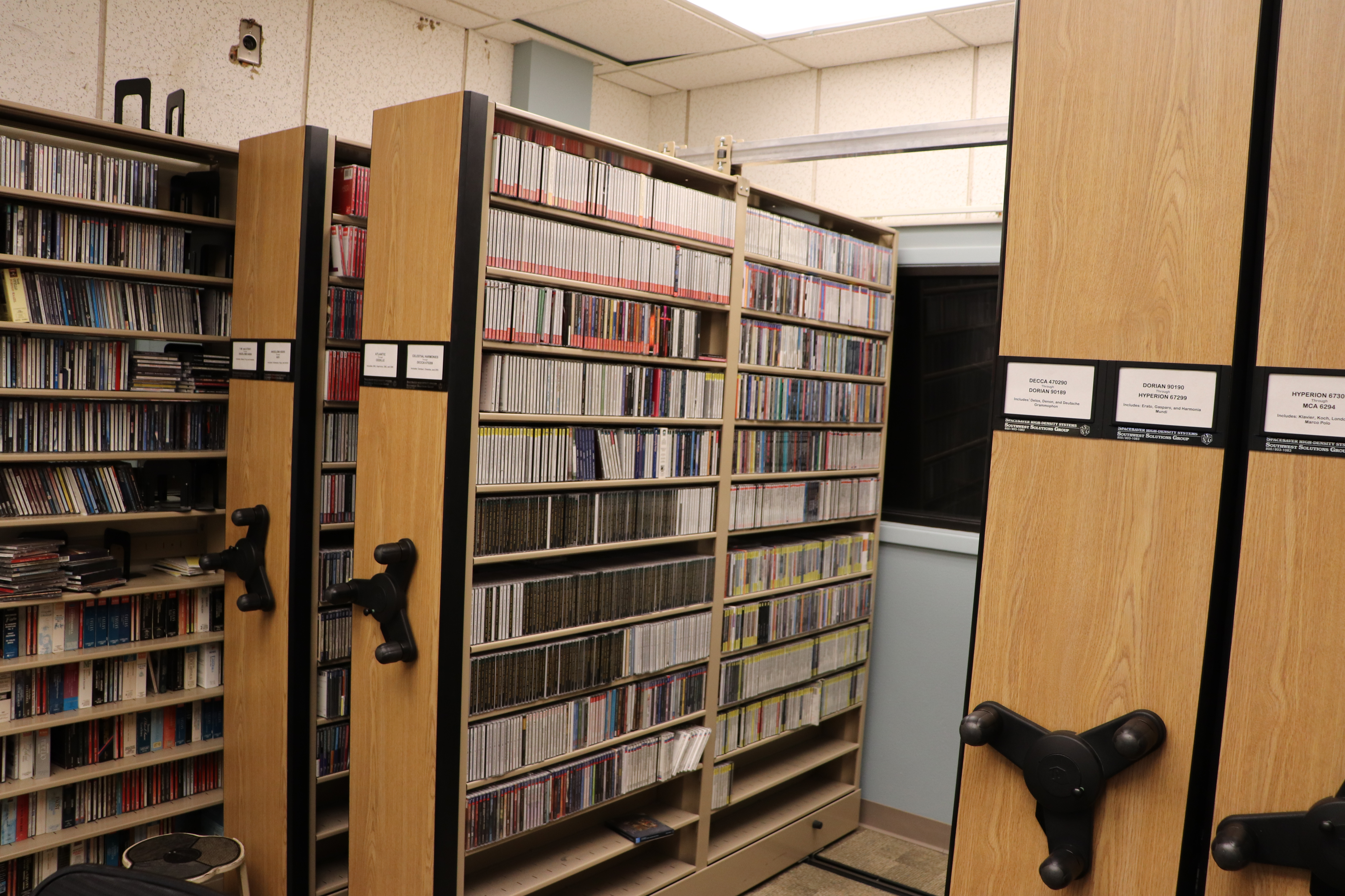 picture of a radio station's music library