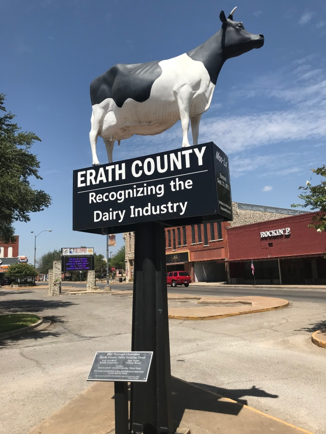picture of a cow on a sign outside the erath county courthouse