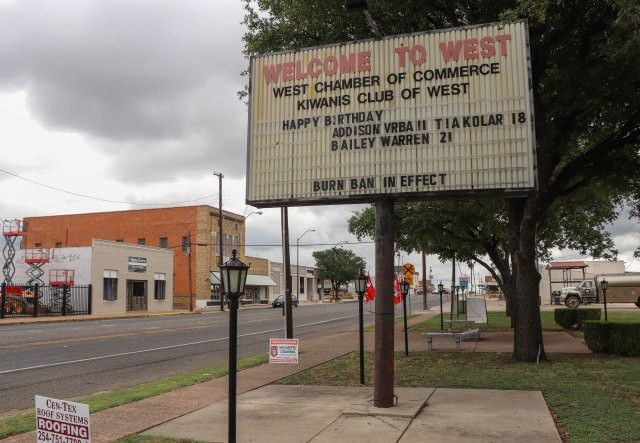 West, Texas welcome sign